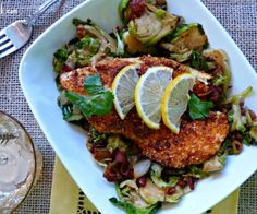 The smoky crunchy pecan crust of this fish dish pairs nicely with the toss of warm shaved Brussels Sprouts and bacon. Seconds, please!