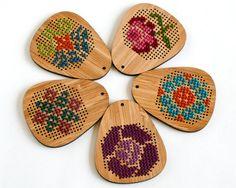 Cross Stitch Necklace from Red gate Stitchery on Etsy
