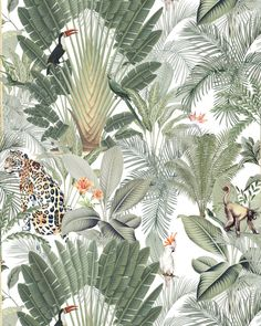 Fantastic Wall Into the Wild, in standard or custom size. Perfect within an urban jungle or bohemian style decor. Animal Wallpaper, Wall Wallpaper, Wallpaper Backgrounds, Into The Wild, Creative Labs, Different Shades Of Green, Colour Pallete, Animal Fashion, Leaf Art