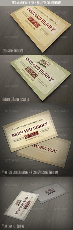Buy Retro or Vintage Style Business Card by vilord on GraphicRiver. Creative business card template with retro or vintage style. Easy to modify, change colors, texts. Vintage Business Cards, Vintage Cards, Print Templates, Card Templates, Vintage Graphic Design, Retro Design, Vintage Fashion, Vintage Style, Retro Style