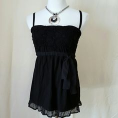 Twin set Simona Barbieri black silk top Made in Italy. Floral, empire bust with a bow on the left side. Elastic fit. Straps are removable. Cute as a maternity top! Simona Barbieri  Tops