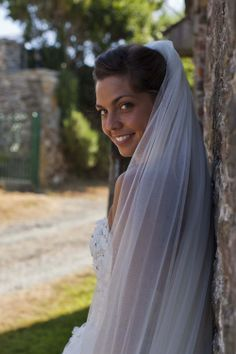 The smiling bride before the wedding ceremony
