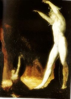 Satan Raises Belzebub from the Sea of Fire by Johann  Heinrich Fusili (Fussli). Part of the 'Angel of the Odd: Dark Romanticism from Goya to Max Ernst currently at Paris's Orsay Museum. I must see if you are visiting Paris.