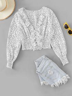 Polka Dot Ruffle Trim Blouse For Women Summer Dresses For Women, Trendy Dresses, Nice Dresses, Summer Outfits, Love Fashion, Fashion Outfits, Floral Print Skirt, Fashion Design Sketches, Kawaii Clothes