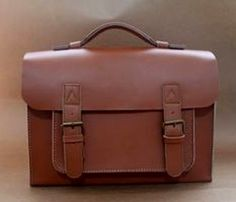 Brown leather laptop bag by Neo Handmade Leather Bags