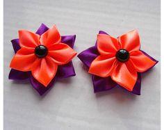 Handmade élastique de cheveux élastique bleu marine et rouge avec strass Trim//Arcs dans une paire