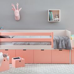 Box Storage Bed by Asoral in Soft Coral with 4 Internal Drawers