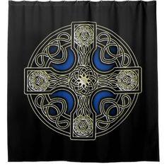Celtic cross shower curtain Menoenterprises_showercurtain