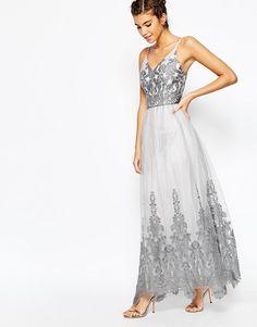 Chi Chi London | Chi Chi London Cami Strap Premium Lace Maxi Tulle Prom Dress at ASOS