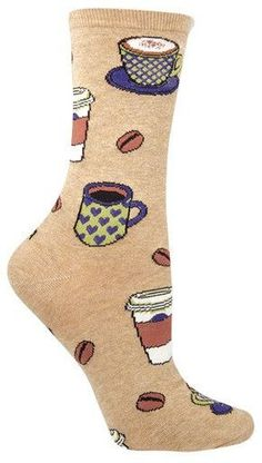 Tan latte and coffee crew length socks. Perk up your day with a pair of Love You a Latte Socks. Fits a women's shoe size 5-10.