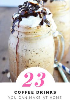 23 coffee drinks you can make at home and save some money. Iced coffees, frappes, lattes, frappuccinos, coffee smoothies - there's something for everyone. From What The Fork Food Blog | whattheforkfoodblog.com