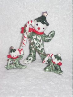 Vintage Christmas Holly Pixie Elf Snowman with Candy Cane Elves on Chain Porcelain Figurine hard to find Japan Commodore Holt Howard era