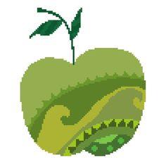 Pretty green apple cross stitch pattern. Modern delicate cross stitch design. Contemporary cross stitch.