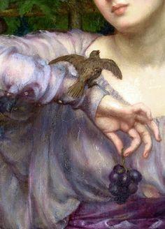 Sir Edward John Poynter,Lesbia and her sparrow (detail) 1907.
