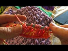 Tunisian Crochet: Afghan Sampler Block 50 (Bi-Color Trebles) - YouTube