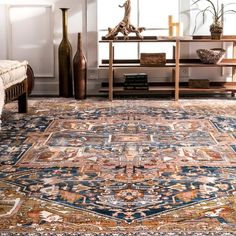 nuLOOM Traditional Fancy Medallion Border Rust Rug (8' x 10')