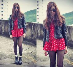 Choies Vintage Playsuit, Sheinside Leather Jacket