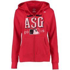Majestic Women's 2015 MLB All-Star Game Mustache Full Zip Hoodie - Red - - $38.99
