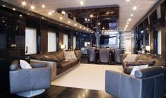Luxury Yacht Interior Design (by NOOR).  Oak veneer, Thassos marble.