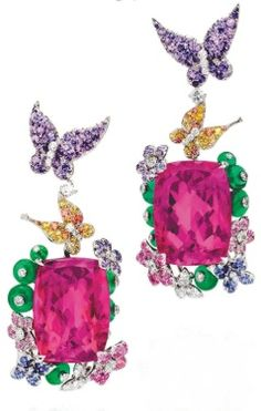 Anna Hu - butterfly earrings - depicting the beauty of a garden  tres  belle,,,,,,