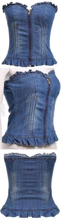 Strapless Zipper Slim Denim Vest