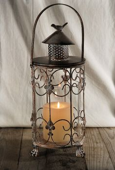 17 Metal Candle Lantern with Glass Hurricane $22 each/ 4 for $19 each-Put next to or on Birch Centerpiece
