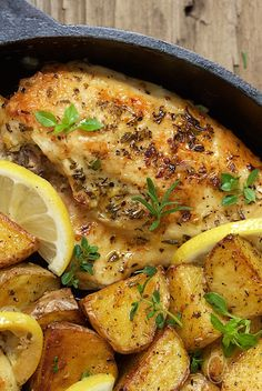 Roasted Chicken and Potatoes with Lemon, Garlic and Herbs - a winner everytime! Moist tender chicken with golden crisp potatoes and lots of fresh herbs.