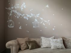 White Wall Stickers » Aegle Enchanted Bird Wall Sticker