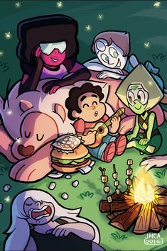 Steven Universe - A good time! Steven Universe Wallpaper, Steven Universe Comic, Steven Univese, Lapidot, Universe Art, Illustrations, Peace And Love, Fanart, Geek Stuff