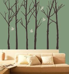 Wall Decal Forest Trees With Birds Outdoor Wildlife House Decor Vinyl Sticker. $280.00, via Etsy.