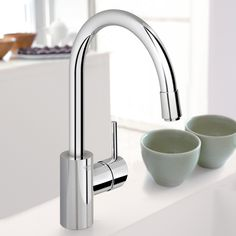 Grohe 32665001 Concetto Starlight Chrome Sleek Pull-Down Spray Kitchen Faucet