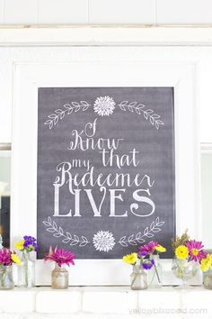 I know that My Reedemer lives #freeprintable So gorgeous.  via @Kristin Bergthold   Yellow Bliss Road