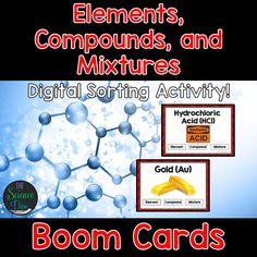 This interactive deck will allow your students to differentiate between and categorize many different examples of Elements, Compounds, and Mixtures (33 total cards). This digital resource is hosted on Boom Learning™. Boom Cards™ require absolutely no printing, laminating, cutting, or grading. It's all done for you! Check out the preview for a free, playable demonstration.