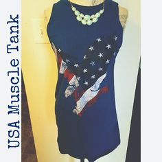 USA Muscle Tank Great for summer! - longer style tank - fun American print - cobalt blue Tops Tank Tops
