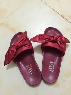 08a92486ea14b7 Buy Puma X Fenty Bow Slides ButterFly Burgundy Women Sandals Authentic from  Reliable Puma X Fenty Bow Slides ButterFly Burgundy Women Sandals Authentic  ...