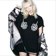 Punk Style Fingers Printed Skull Shirt //Price: $27.79 & FREE Shipping //     #skull #skullinspiration #skullobsession #skulls