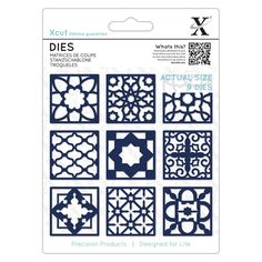 Create intricate designs with the Moroccan Tiles Xcut Die Set by DoCrafts. The package includes 9 thin metal dies that are made of high quality carbonized steel. The dies are compatible with most die cutting machines (sold separately). Moroccan Stencil, Moroccan Tiles, Die Cutting, Paper Cutting, Scrapbook Supplies, Scrapbooking, Tampons, Penny Black, Joy And Happiness