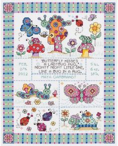 Bug In A Rug Birth Announcement - Cross Stitch Kit