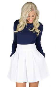 White Pleated Skirt - http://www.laurenjames.com/collections/skirts/products/pleated-seersucker-skirt