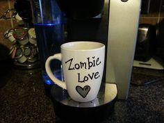 Zombie Love coffee mug - coffee mug - walking dead - zombies - unique gifts - homemade - personalized mug - personalized gift - personalized by TheLovelyCraftRoom on Etsy https://www.etsy.com/listing/227919791/zombie-love-coffee-mug-coffee-mug