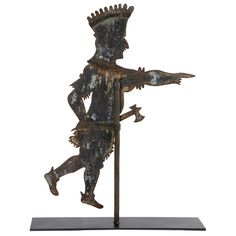 Indian weathervane by an anonymous maker of New England origin, ca.1890. Sheet iron with original mounting rod