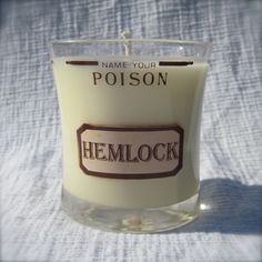 """""""Name your poison: Hemlock"""", Upcycled Glass with Soy Candle, by Deuce Goods on etsy. © Ash Fennessey.  [poison hemlock, Conium maculatum, Apiaceae] Soy Candles, Candle Jars, Ash, Upcycle, Vanilla, Unique Jewelry, Handmade Gifts, Crafts, Gray"""