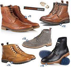 Bottines Homme , Chaussures Montantes en cuir , Mode Homme Automne Hiver  2016 2017 , Brogue