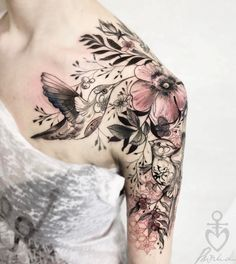 Stunning Flower And Hummingbird Tattoo