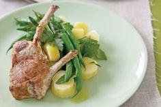 Yoghurt-marinated lamb with potato & mint salad