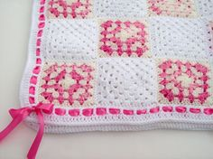 Crochet Granny Square Baby Blanket Cherry Berry and White