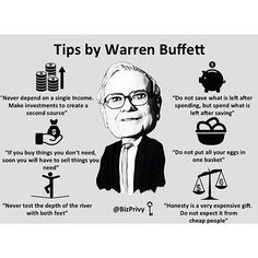 Loving these tips from Warren Buffett! Double tap if you agree and tag a friend that needs to see this! by foundrmagazine Financial Quotes, Financial Literacy, Financial Tips, Financial Planning, Warren Buffett, Business Motivation, Business Quotes, Business Ideas, Warren Buffet Quotes