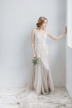 A-line floaty wedding dress TOVEL with long train Boho image 6 Floaty Wedding Dress, Unusual Wedding Dresses, Unusual Dresses, How To Dress For A Wedding, Luxury Wedding Dress, Cheap Wedding Dress, Elegant Dresses, Weeding Dress, Gown Wedding