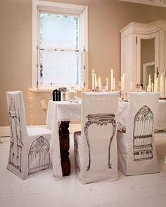 custom white slip cover chairs bird house print