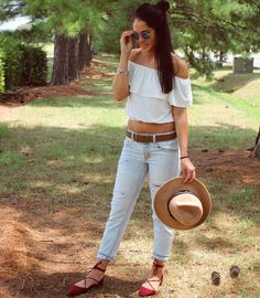 Off the shoulder tops are super trendy and a perfect summer...